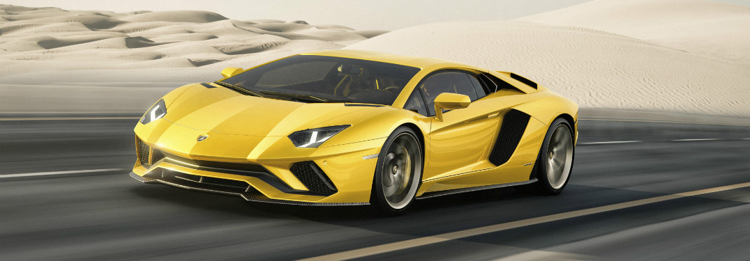 New Lamborghini Aventador S side view yellow