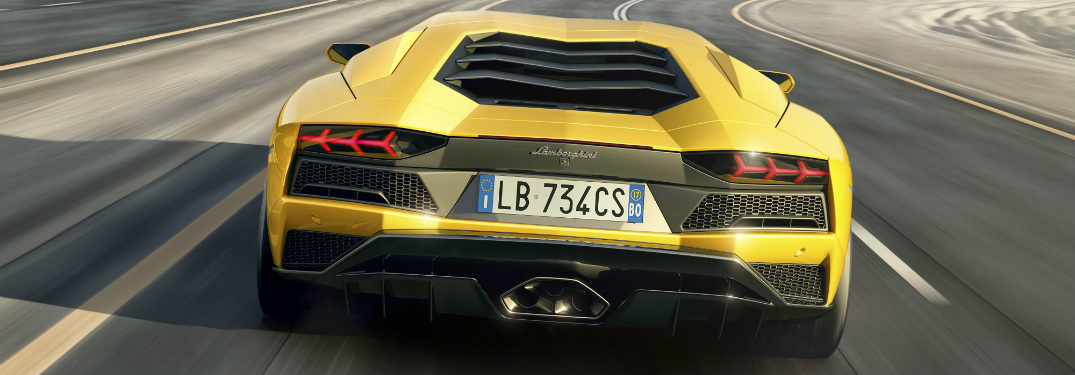 Lamborghini Aventador S rear view yellow