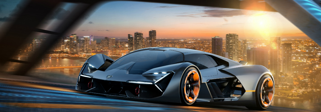 Lamborghini Terzo Millennio front side view at sunset