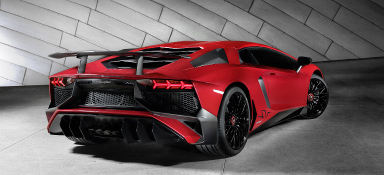 Lamborghini Aventador SV rear view in red