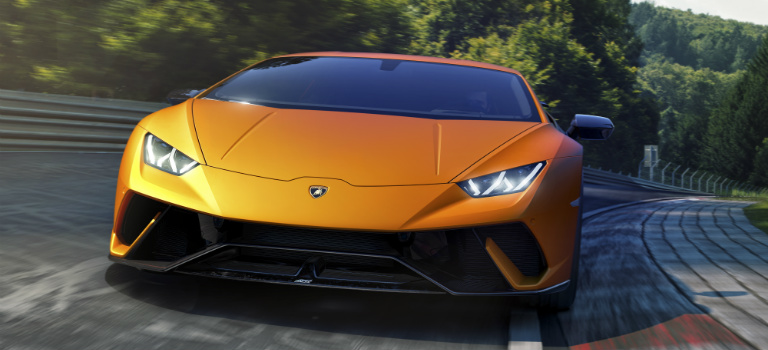 Lamborghini Huracan Performante orange front view at Nurburgring