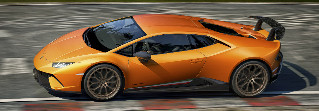 Lamborghini Huracan Performante orange side view at Nurburgring