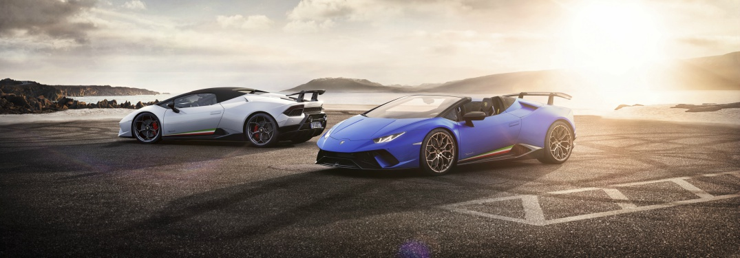 Lamborghini Huracan Performante white and blue with top up and top down respectively