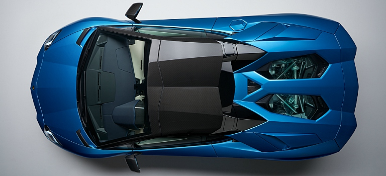 Lamborghini Aventador S Roadster Blue Top View With Black Roof O
