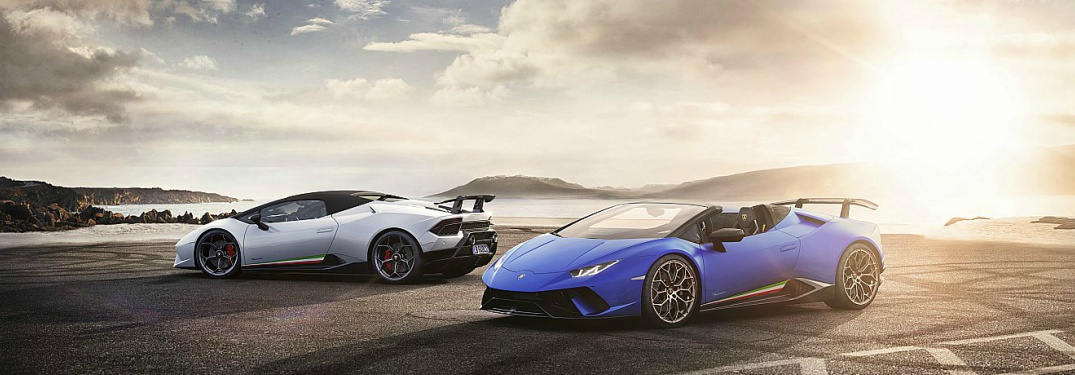 ... Lamborghini Huracan Performante Spyder White And Blue Side By Side