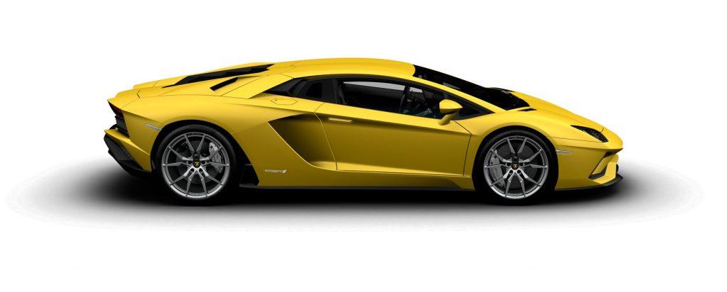 Lamborghini Aventador S Coupe Matte Giallo Horus Side View