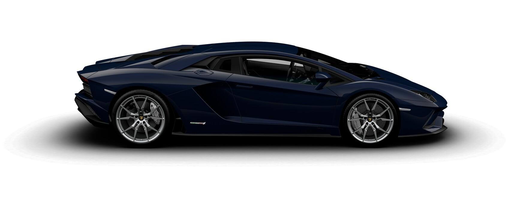 Lamborghini Aventador S Coupe metallic Blu Hera side view
