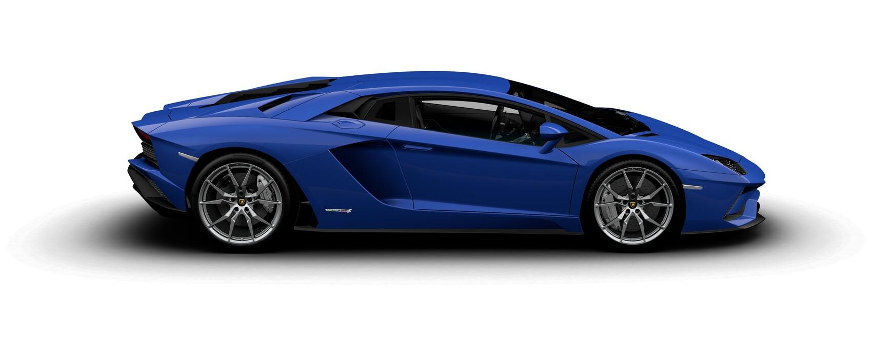 Lamborghini Aventador S Coupe metallic Blu Nereid side view