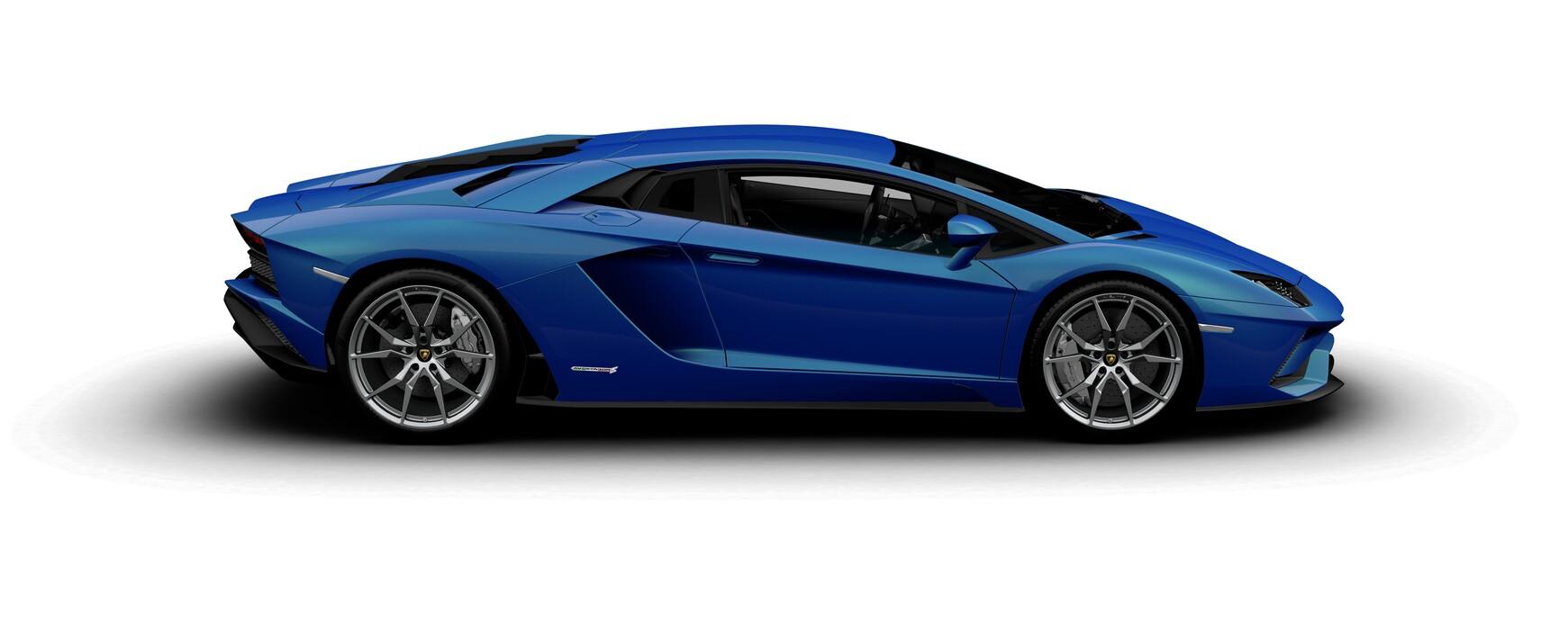 Lamborghini Aventador S Coupe metallic Blu Nethuns side view