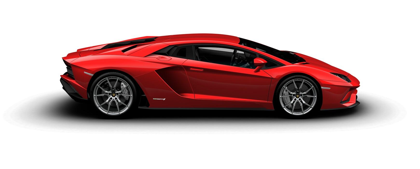 Lamborghini Aventador S Coupe metallic Rosso Bia side view