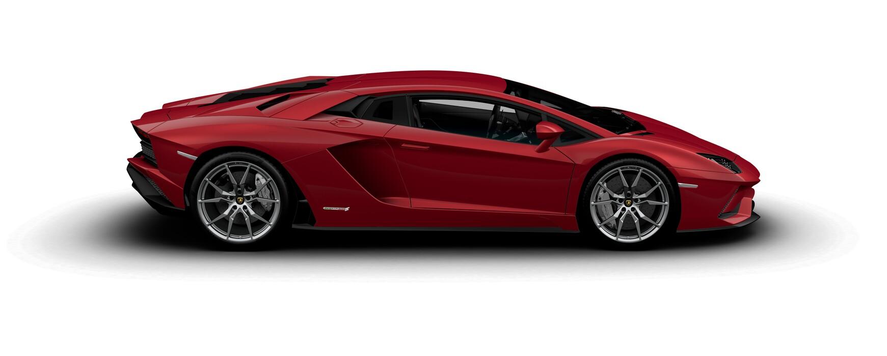 Lamborghini Aventador S Coupe metallic Rosso Leto side view