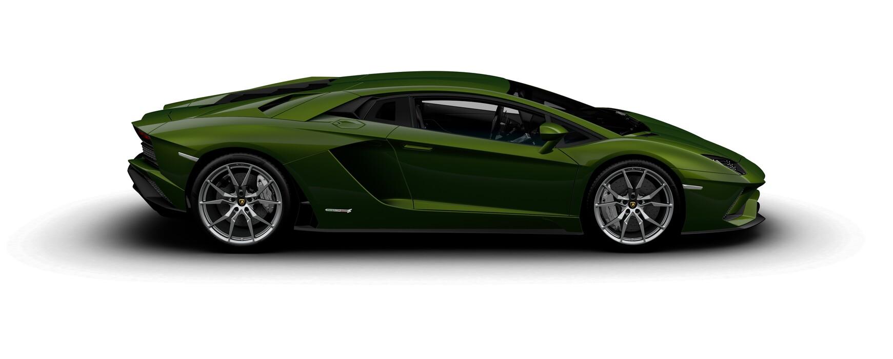Lamborghini Aventador S Coupe metallic Verde Ermes side view