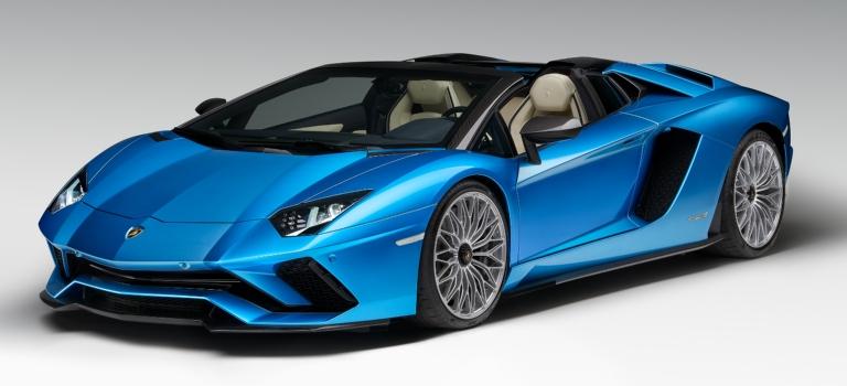 Lamborghini Aventador S Roadster blue front side view