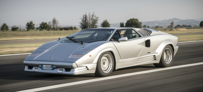 Lamborghini Countach 25th Anniversary edition silver front view