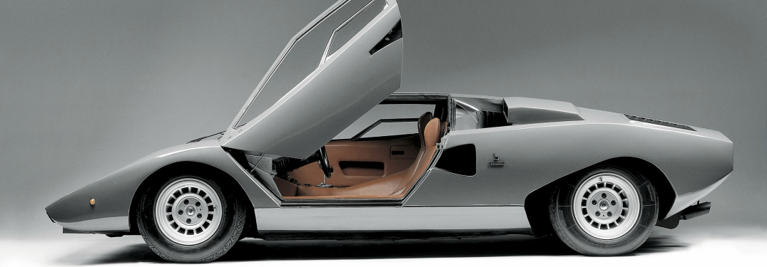 Lamborghini Countach gray side view with scissor door open