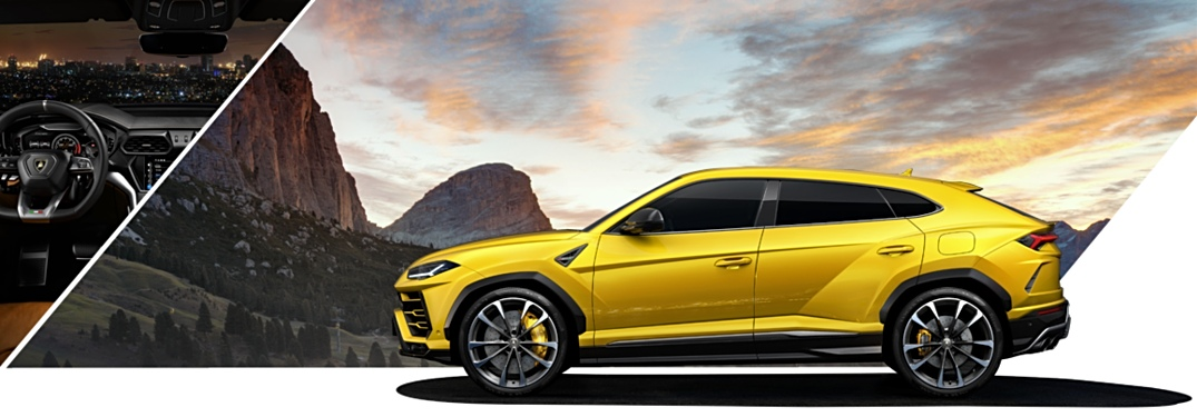 Lamborghini Urus yellow side view with interior view and mountain view