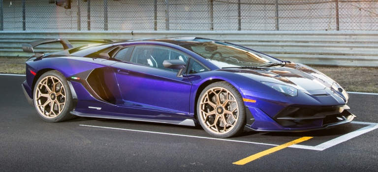 Lamborghini Aventador Svj Blue Side View On The Track O