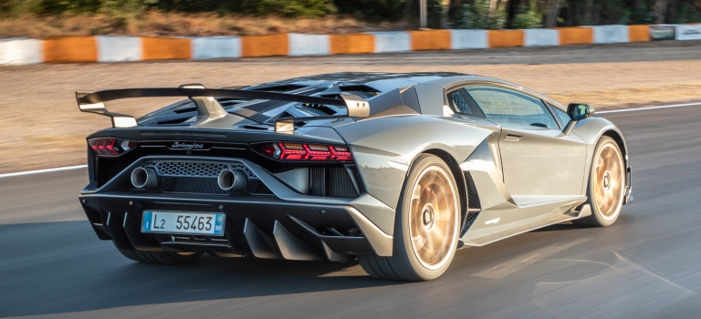 Lamborghini Aventador Svj Gray Side Back View On The Track O