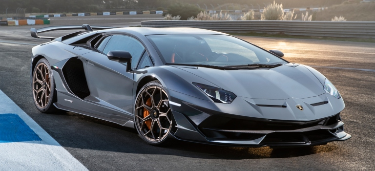 Lamborghini Aventador Svj Gray Side View On The Track O