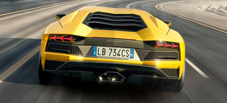 Lamborghini Aventador S Back View Yellow O Lamborghini Palm Beach