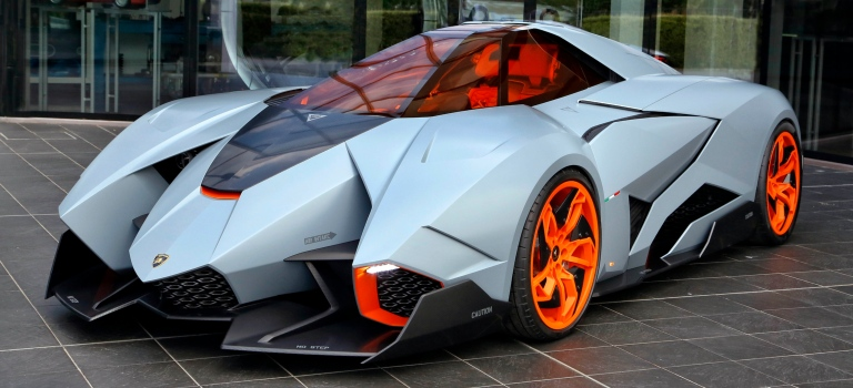 Lamborghini Egoista Concept Blue And Orange Front View O