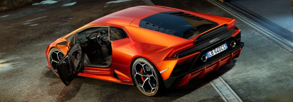 2019 Lamborghini Huracan Evo Orange Back View Door Open O