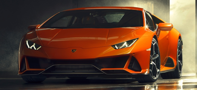 Lamborghini Huracan Evo Orange Front View O Lamborghini Palm Beach