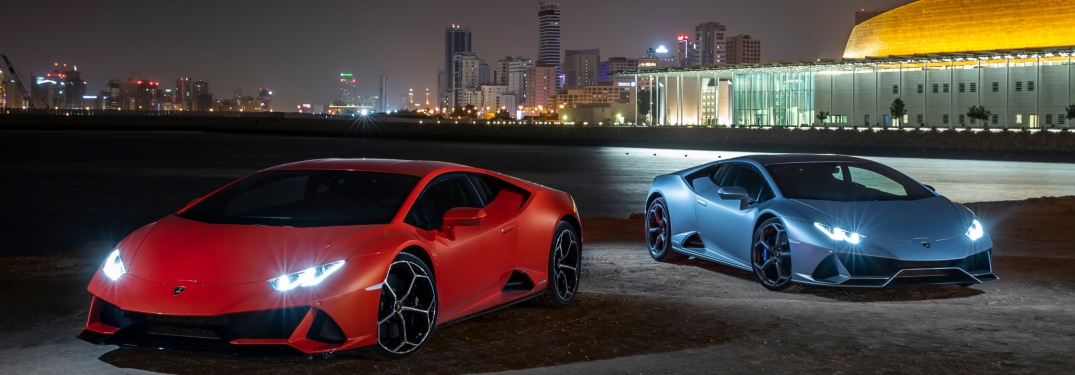 Lamborghini Huracan EVO orange and blue front view at night