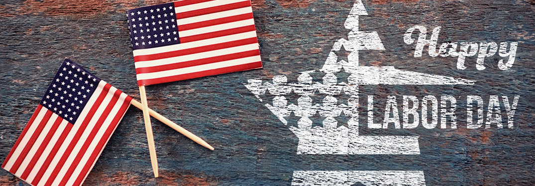 Happy Labor Day title with a star graphic and two American flags
