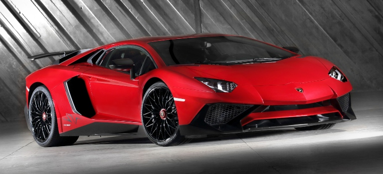 Lamborghini Aventador SV red side front view