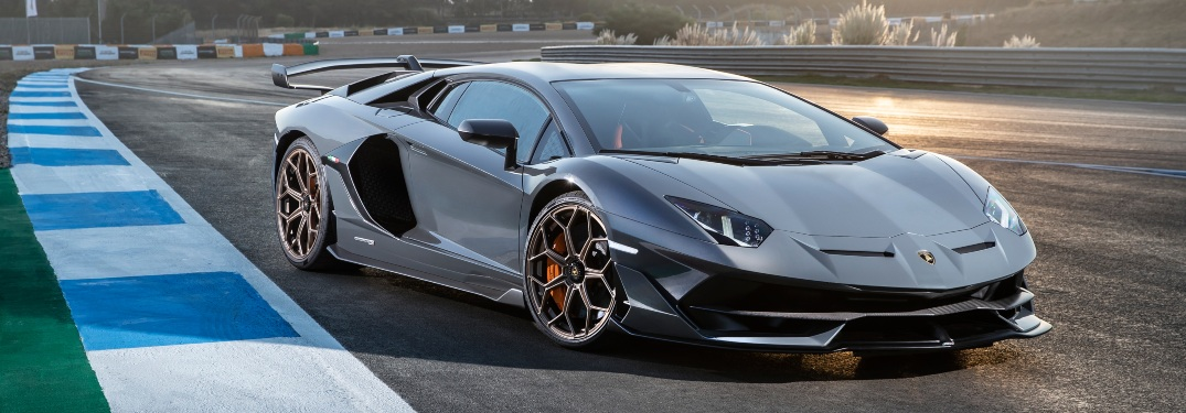Lamborghini Aventador SVJ gray side view at the track