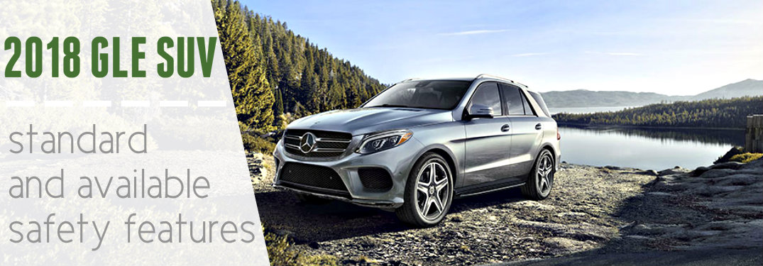 Gray-2018-Mercedes-Benz-GLE-SUV-with-text-saying-2018-GLE-SUV-standard-and-available-safety-features