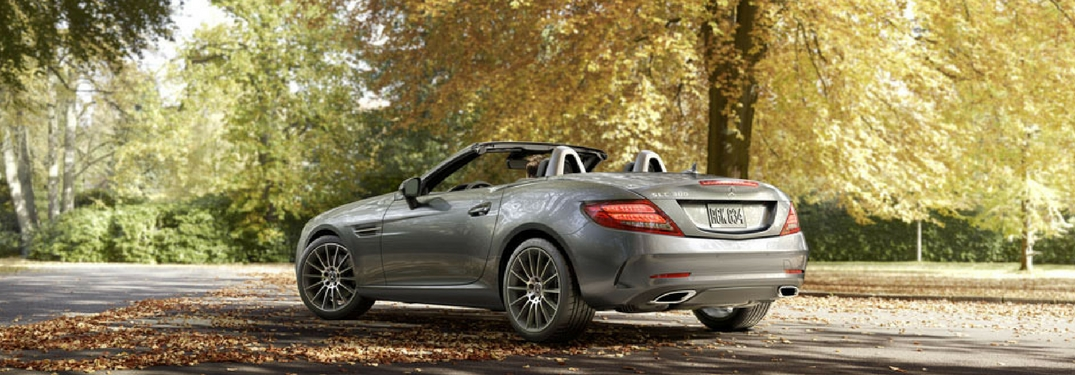 2018 Mercedes-Benz SLC 300 parked underneath trees with yellow leaves