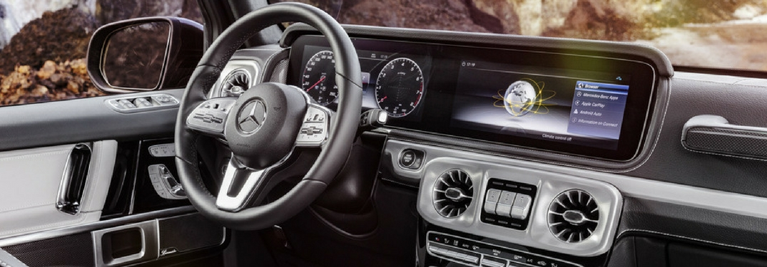 Close up on the dashboard interior of the 2019 Mercedes-Benz G-Class