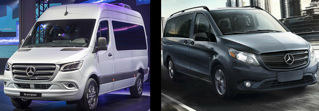 side by side images of the 2018 Mercedes-Benz Sprinter and 2018 Mercedes-Benz Metris vans