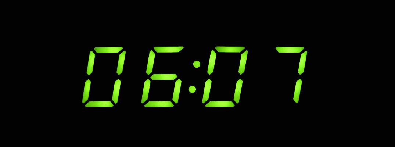 Digital clock reading 06:07
