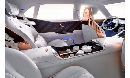 Vision Mercedes Maybach Ultimate Luxury Interior White Seating Upholstery  With Bronze Metal Trim And Teapot