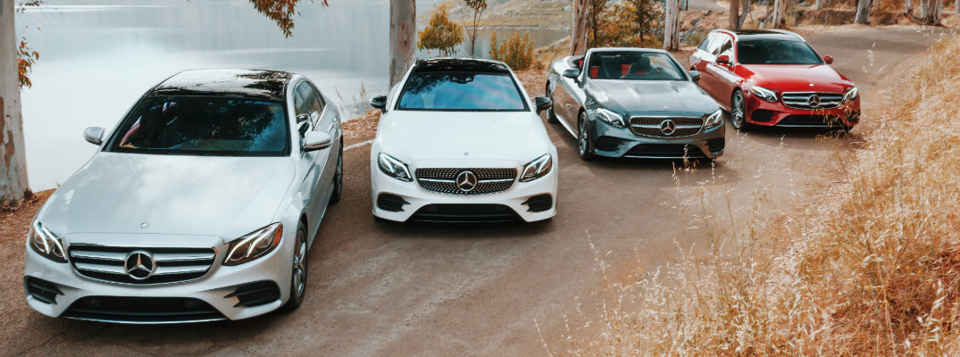 2019 Mercedes-Benz E-Class family exterior shot lined up on a forest road next to a lake of water