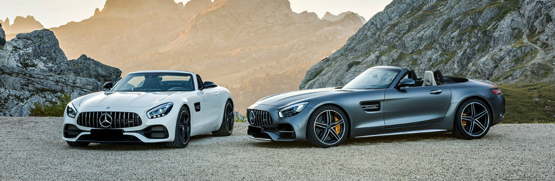 2018 Mercedes-Benz AMG GT C models parked in rocky wilderness
