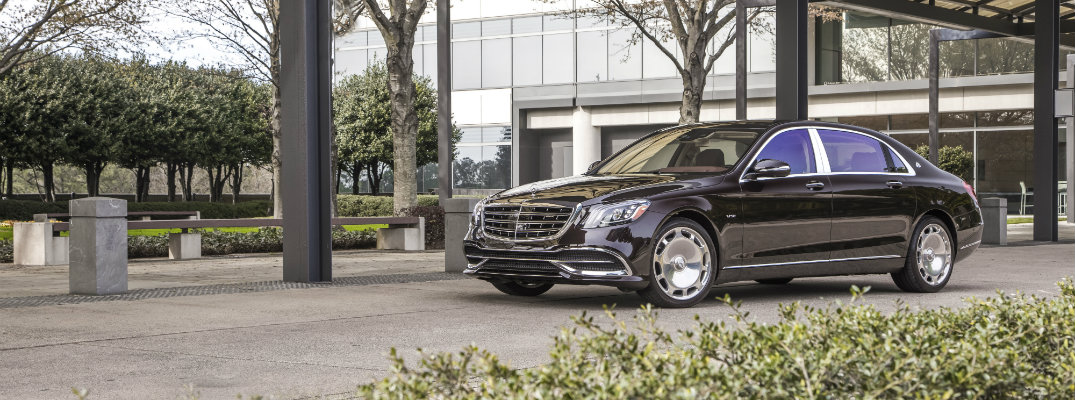 2018 Mercedes-Maybach exterior shot parked in a terrace with bushes and tress lining the walkway
