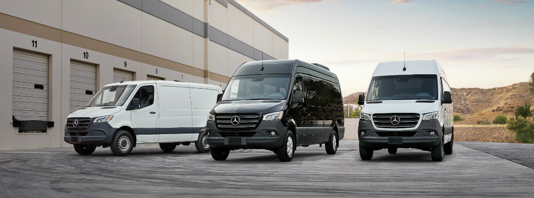 2019 Mercedes-Benz and Freightliner Sprinter Cargo, Crew, and Passenger Vans exterior shot outside of a warehouse