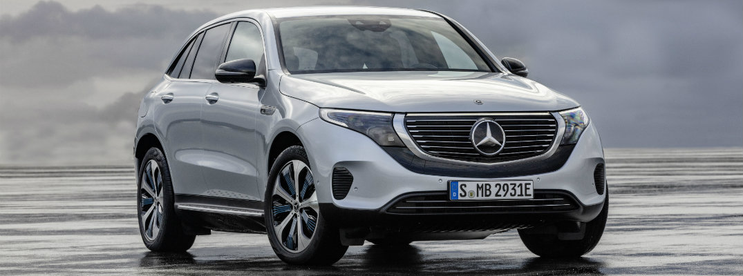 Mercedes-Benz EQC electric SUV exterior shot parked on a wet lot