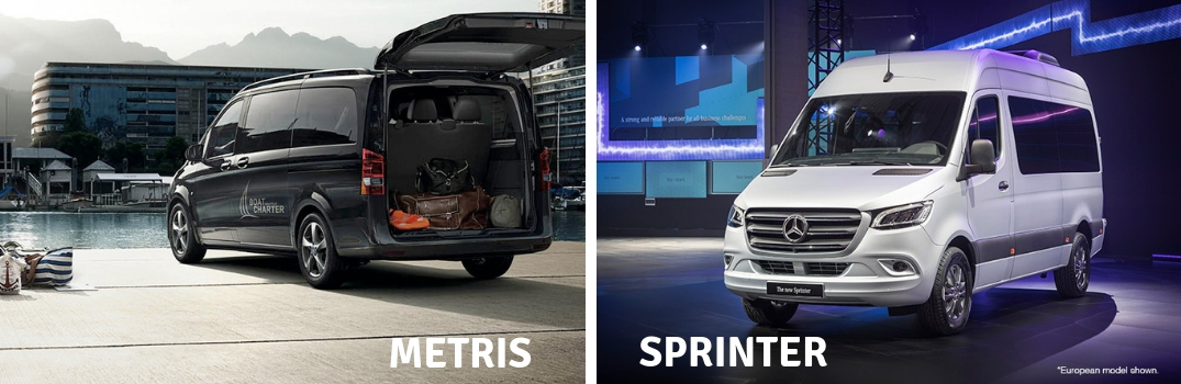 2018 Mercedes-Benz Metris and Sprinter parked outside