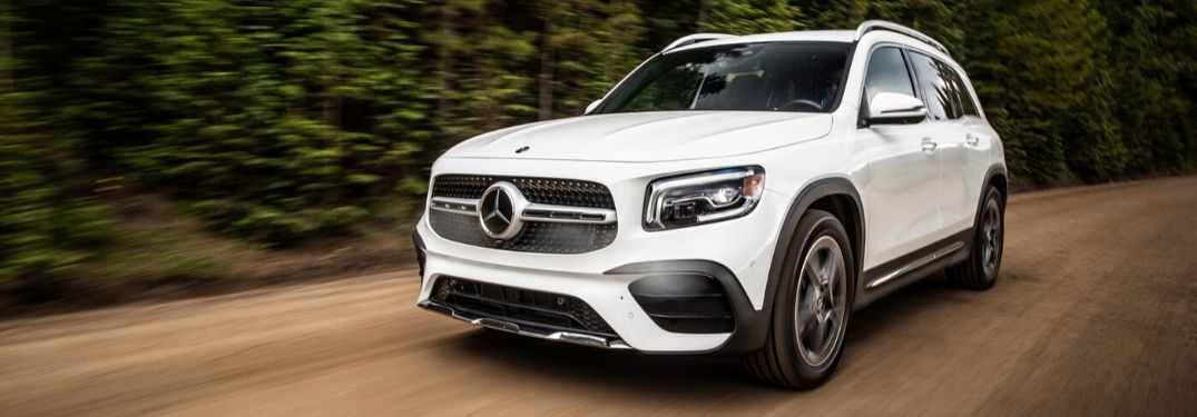White 2020 Mercedes-Benz GLB on dirt road