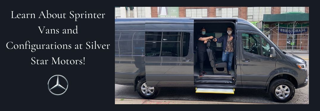 Photo of men with masks in Mercedes-Benz Sprinter van and text on left saying Learn About Sprinter Vans and Configurations at Silver Star Motors!