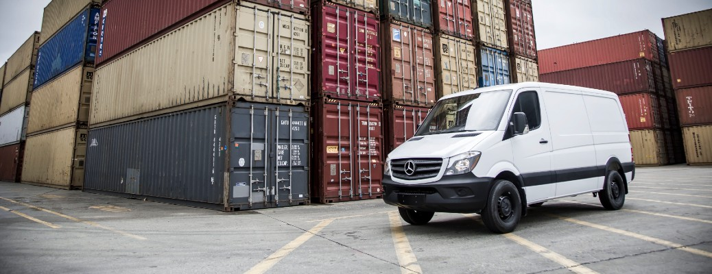 Mercedes-Benz Sprinter van parked in port