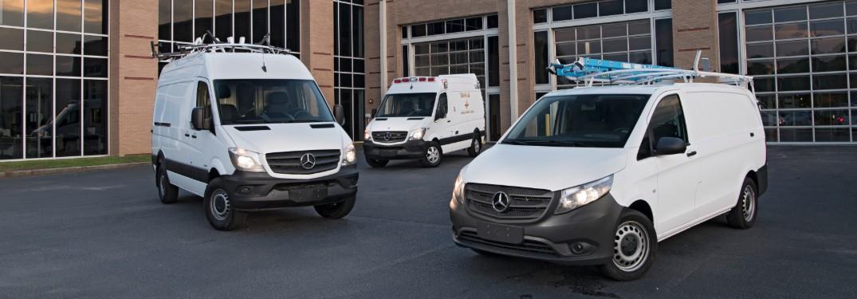 Three Mercedes-Benz Sprinter and Metris vans