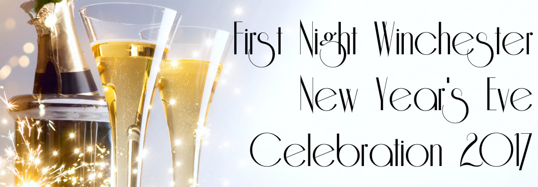 First Night Winchester celebration next to champagne glasses