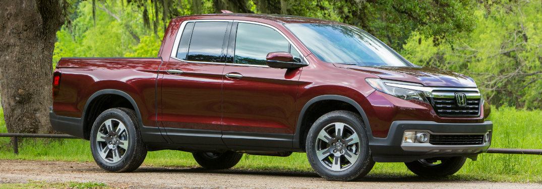 Side view of a red 2019 Honda Ridgeline