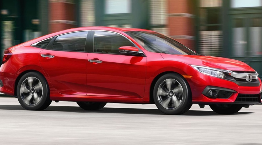 Side view of a red 2018 Honda Civic